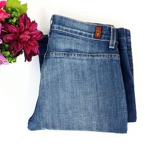 7FAM High Waisted Pocketless Back Wide Leg Jeans